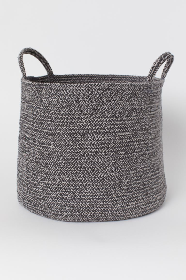 Storage basket with handles - Grey/Natural white - Home All | H&M IE