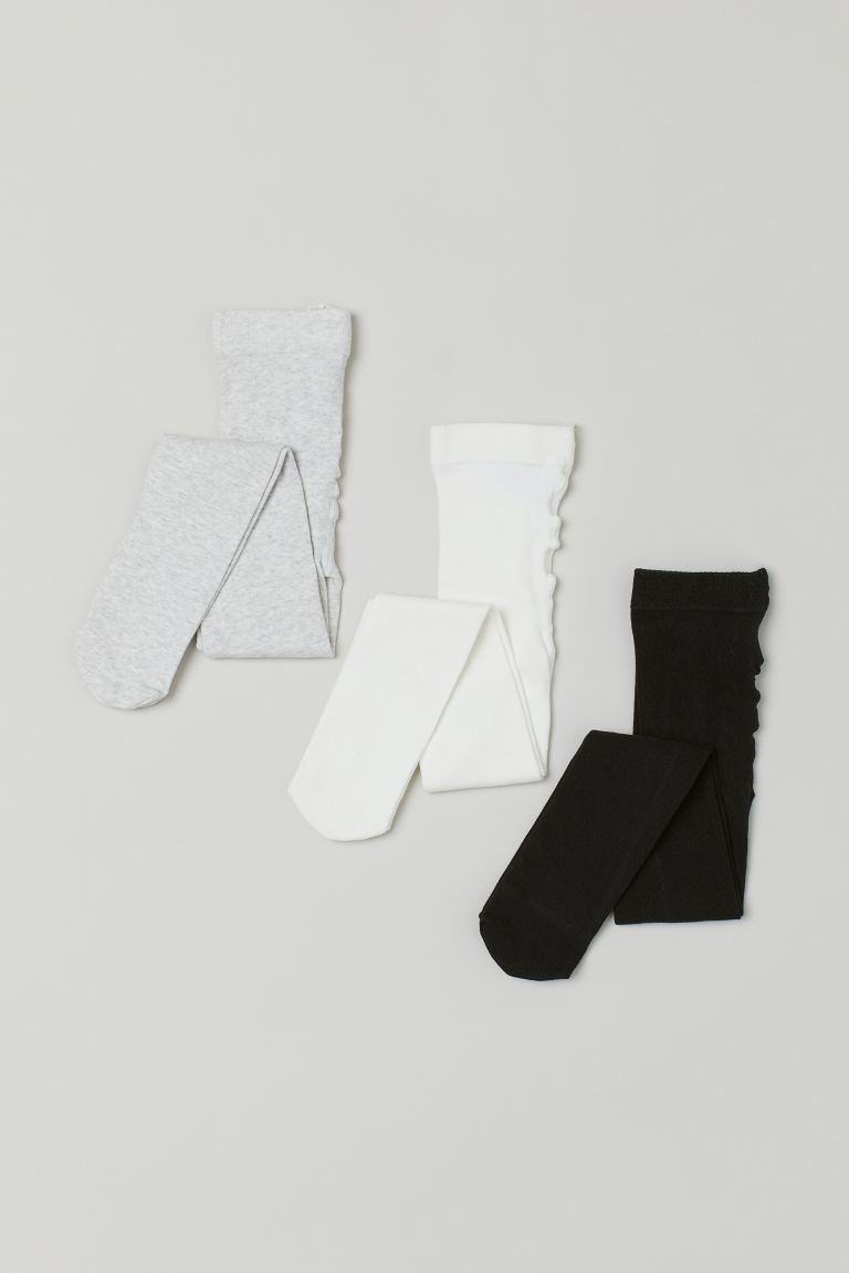 3-pack Fine-knit Tights - Black/light gray melange - Kids | H&M US
