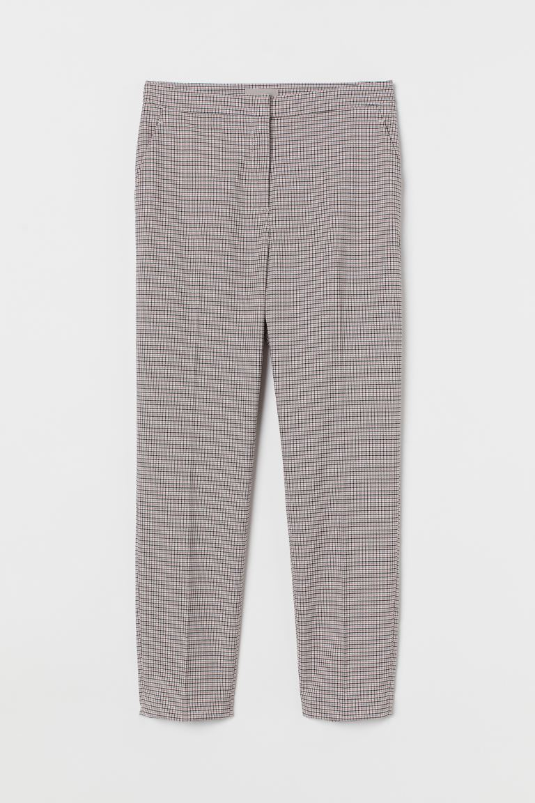 Cigarette trousers - Powder pink/Black checked - Ladies | H&M GB