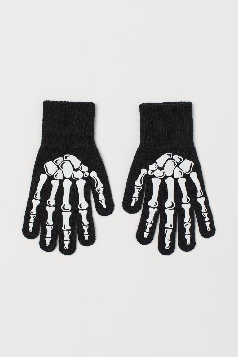 Gloves with Printed Motif - Black/skeleton - Kids | H&M CA