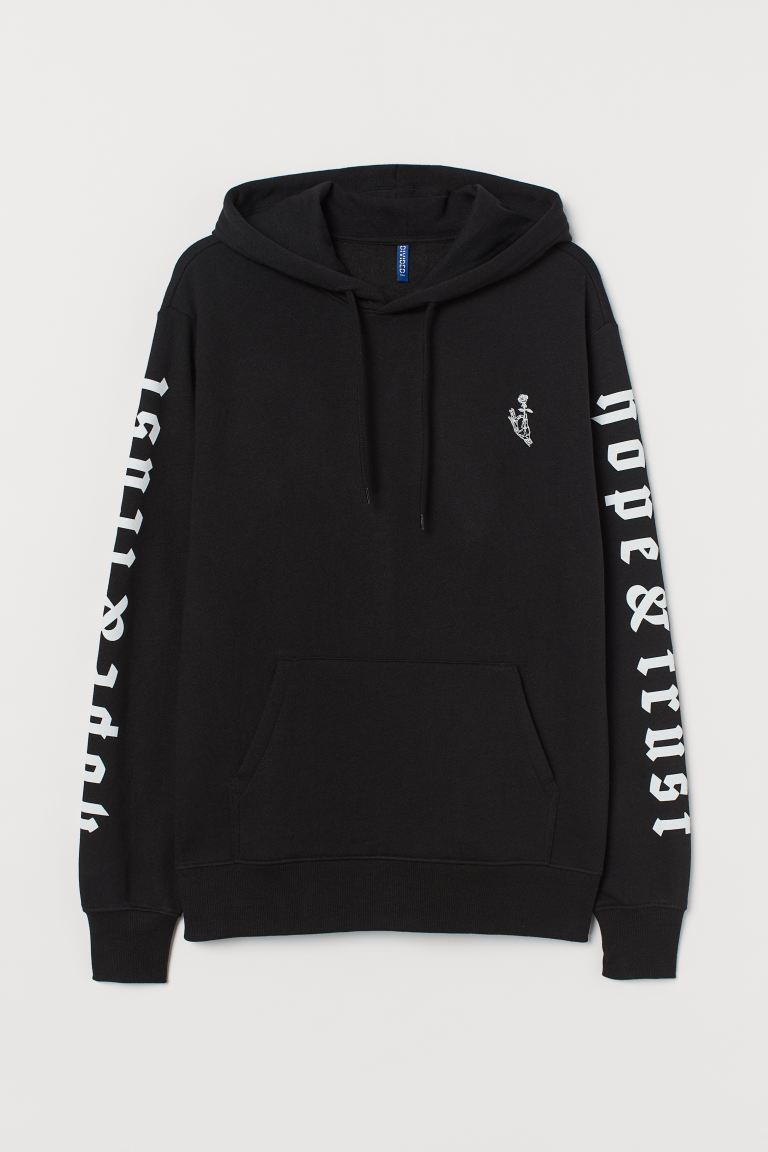 Hooded top with a motif - Black/Hope & Trust - Men | H&M
