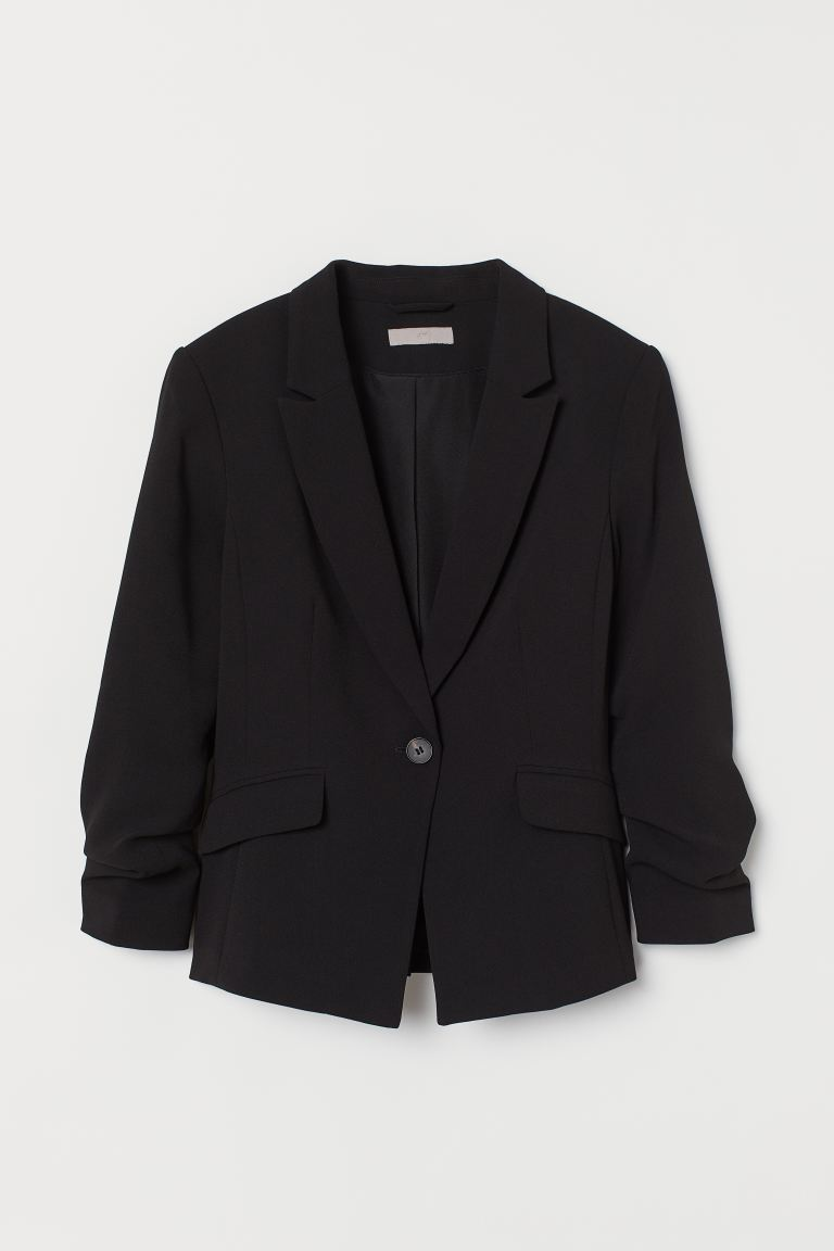 Gathered Sleeve Jacket - Black - Ladies | H&M AU