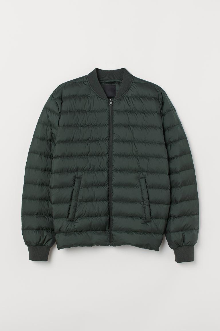 Lightweight down jacket - Dark green - Men | H&M IN