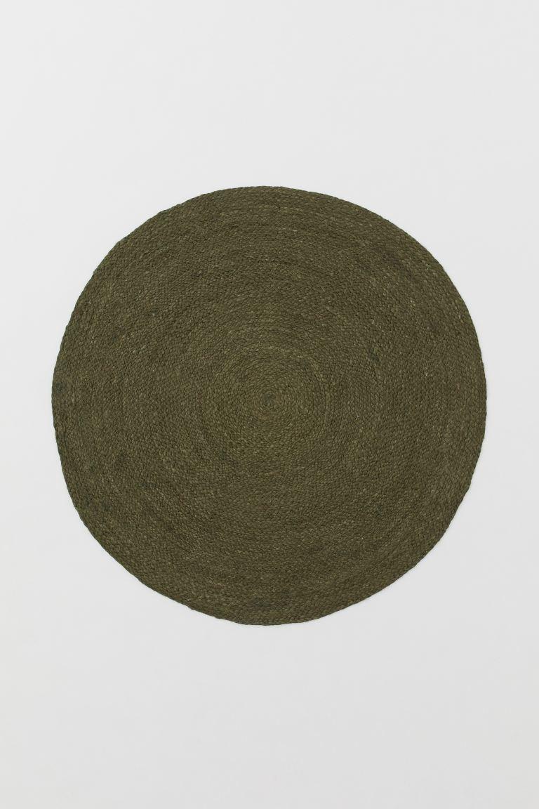 Round Jute Rug Dark Khaki Green