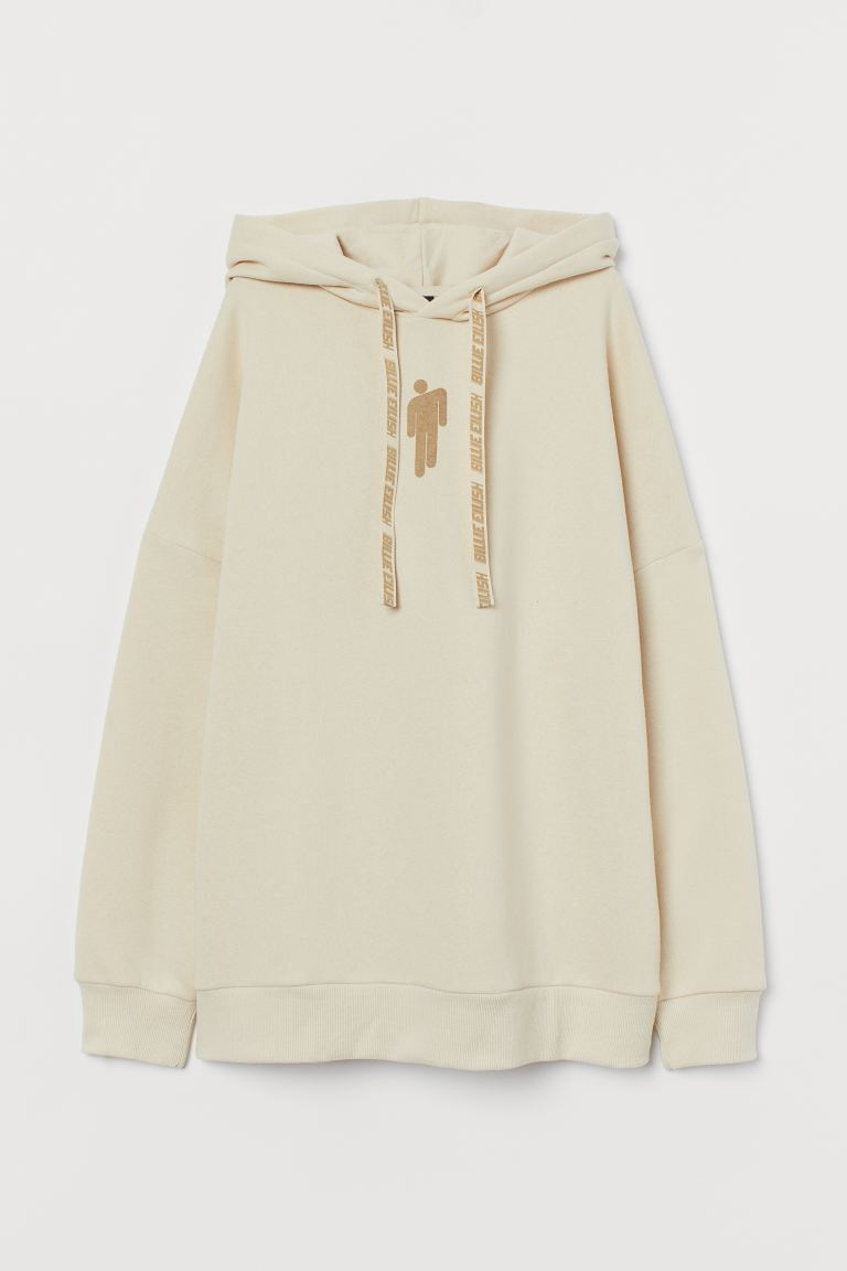 Oversized Sweatshirt Hoodie Light Beige Billie Eilish Ladies H M Us
