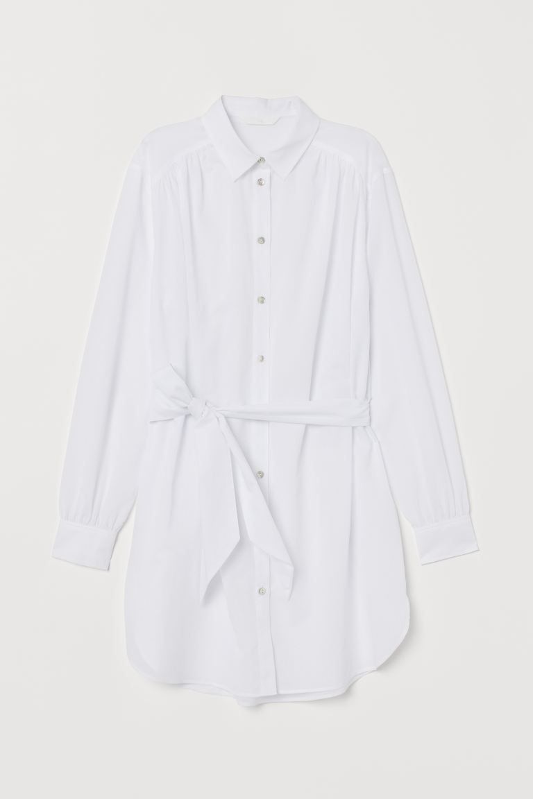 Long Shirt with Tie Belt - White - Ladies | H&M US