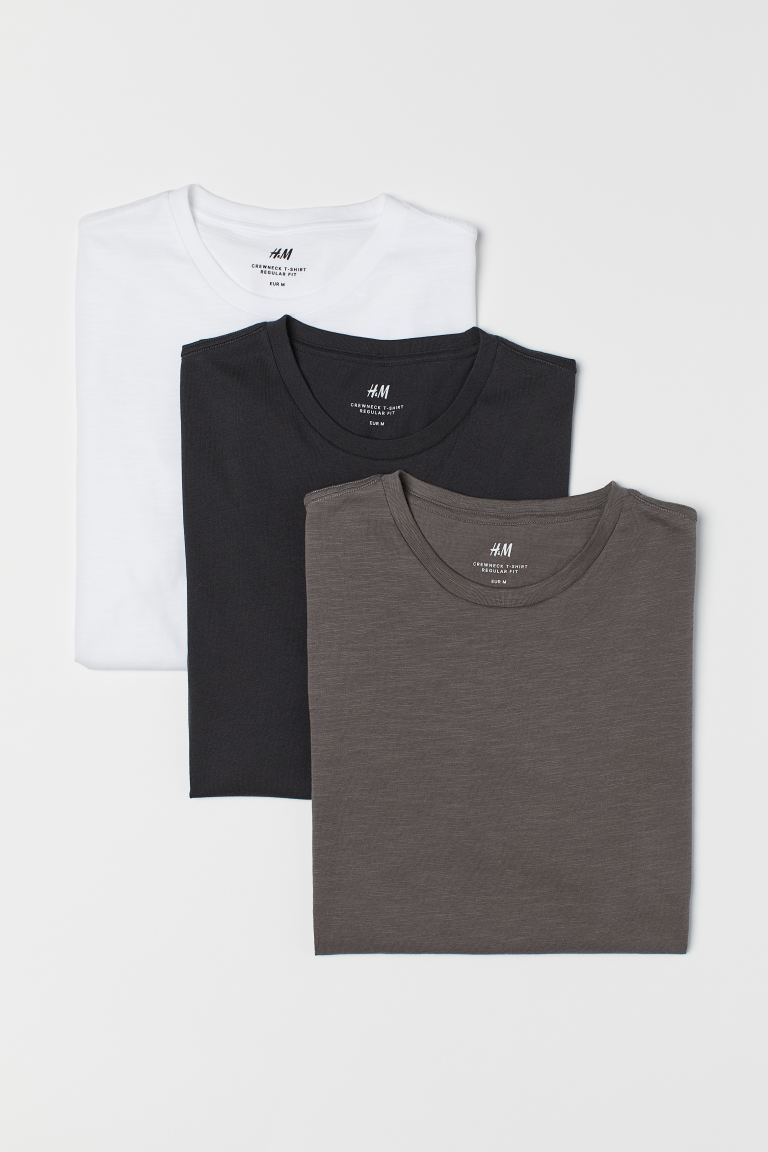 3-pack T-shirts Regular Fit - Black/White - Men | H&M