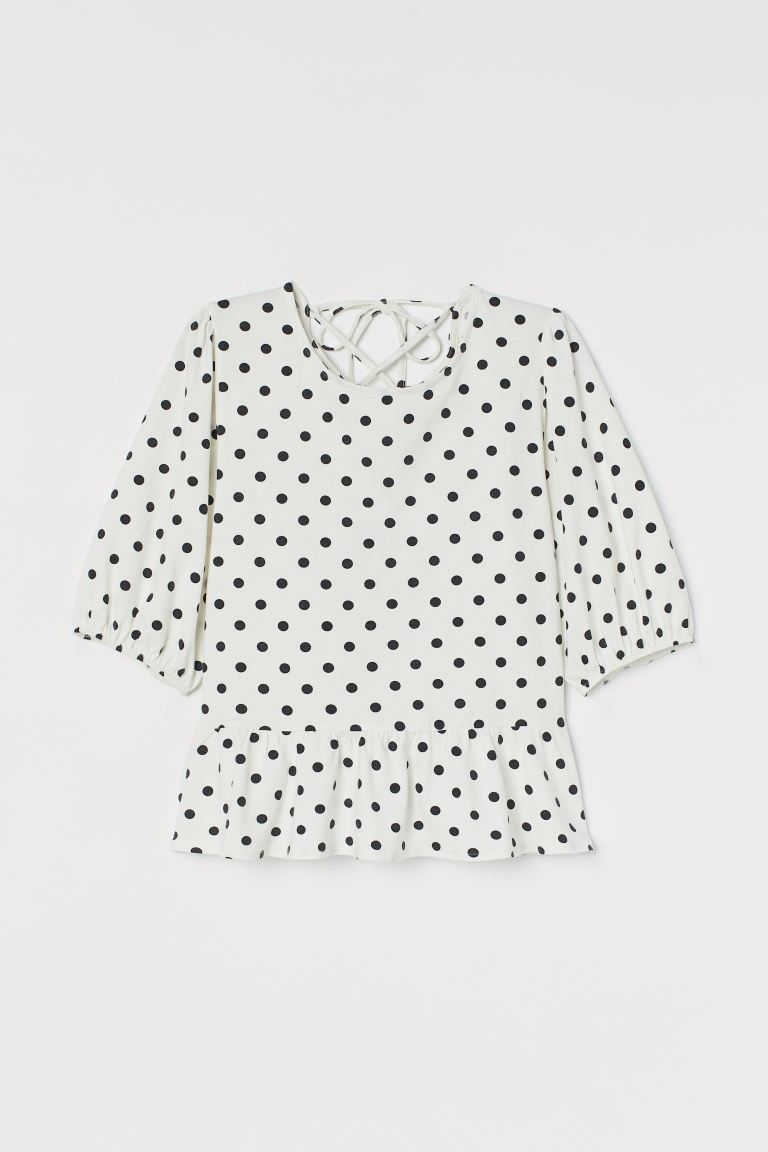 Modal-blend peplum top - White/Spotted - Ladies | H&M GB