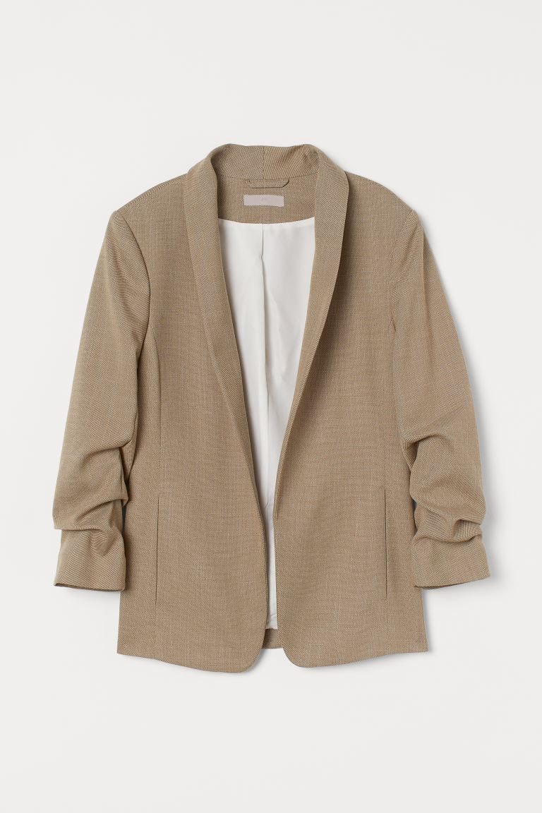 Shawl Collar Jacket - Khaki green marle - Ladies | H&M AU
