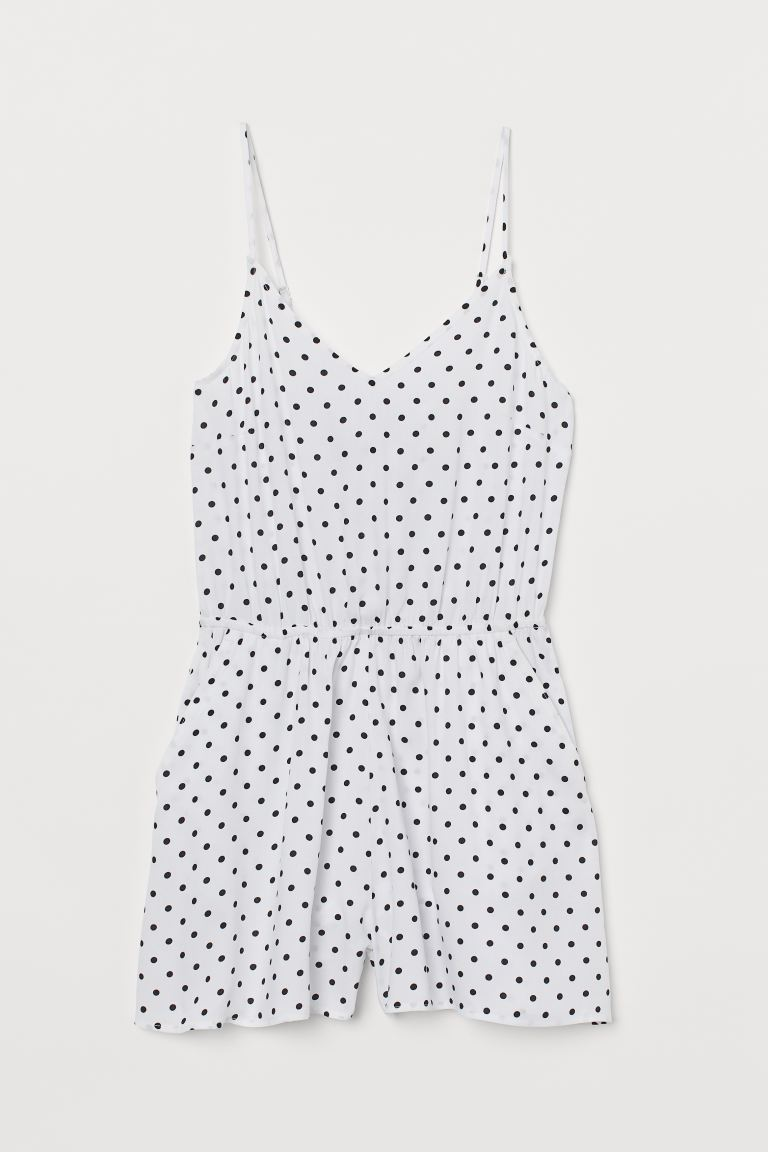V-neck playsuit - White/Black spotted - Ladies | H&M