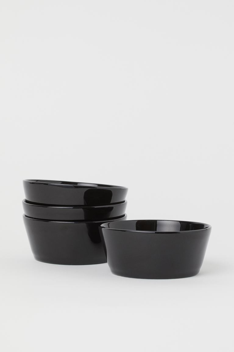 4-pack skål i keramik - Svart - Home All | H&M FI