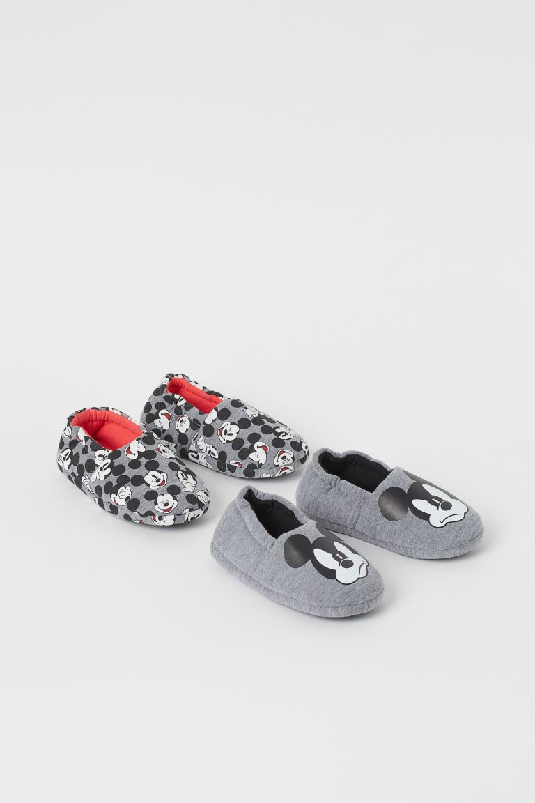 2-pack soft slippers - Grey marl/Mickey Mouse - Kids | H&M
