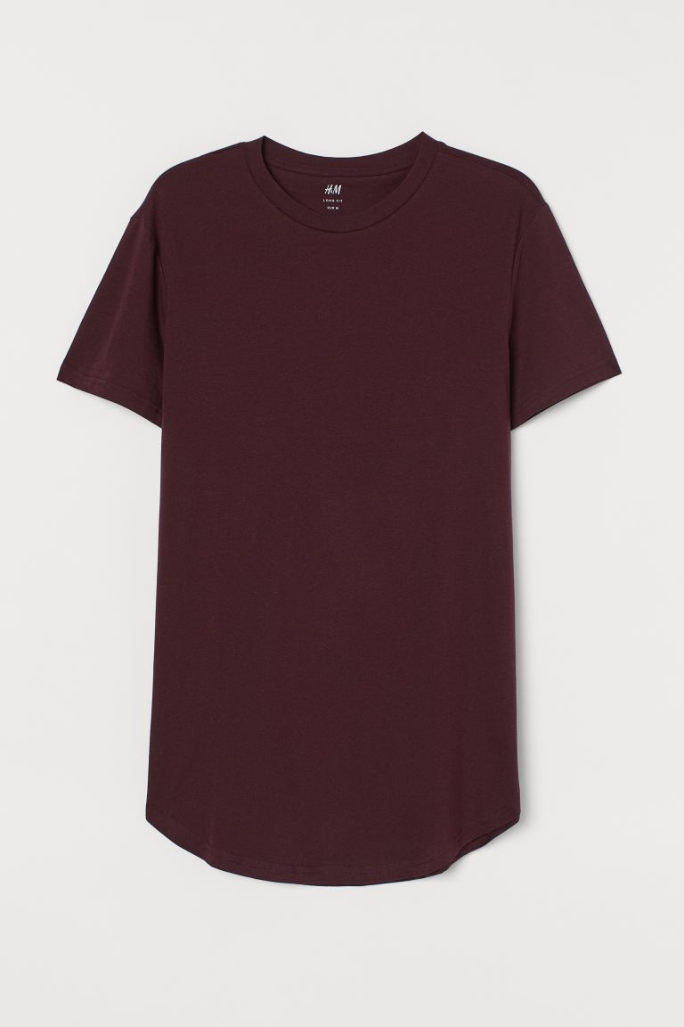 T-shirt Long Fit - Burgundy - Men | H&M IN