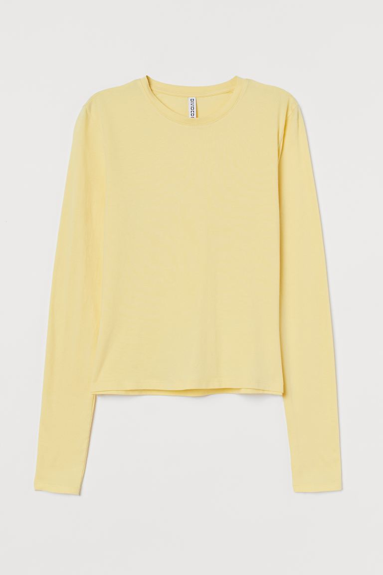 Long-sleeved top - Light yellow - Ladies | H&M