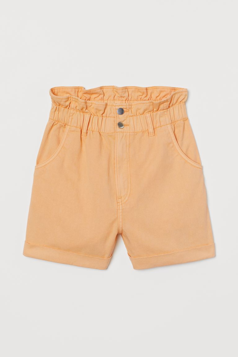 Paper bag-shorts i bomull - Lys orange - DAME | H&M NO