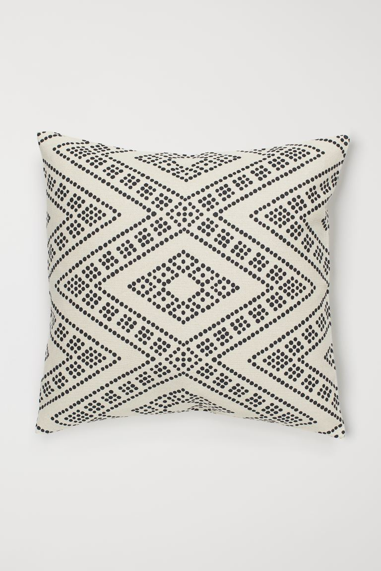 Cotton cushion cover - Natural white/Black spotted - Home All | H&M GB