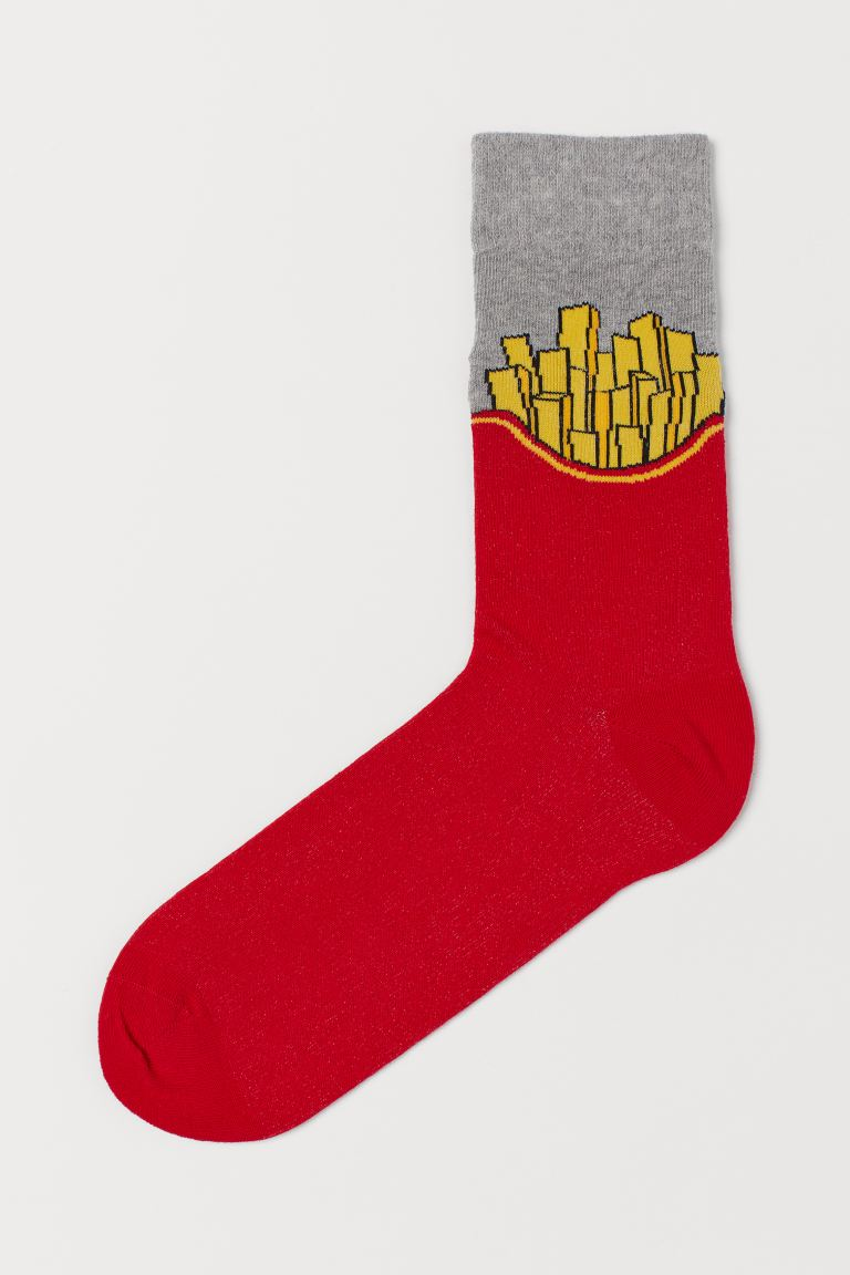 Patterned socks - Red/French fries - Men | H&M