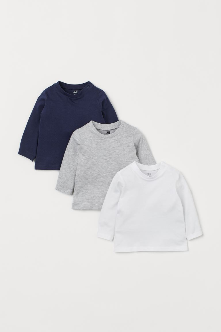 3-pack jersey tops - Dark blue/White/Grey marl - Kids | H&M GB