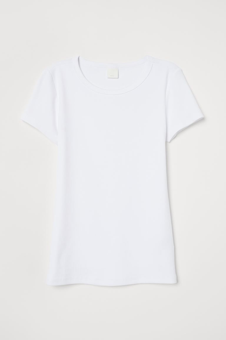 Top in jersey - Bianco/costine - DONNA | H&M IT