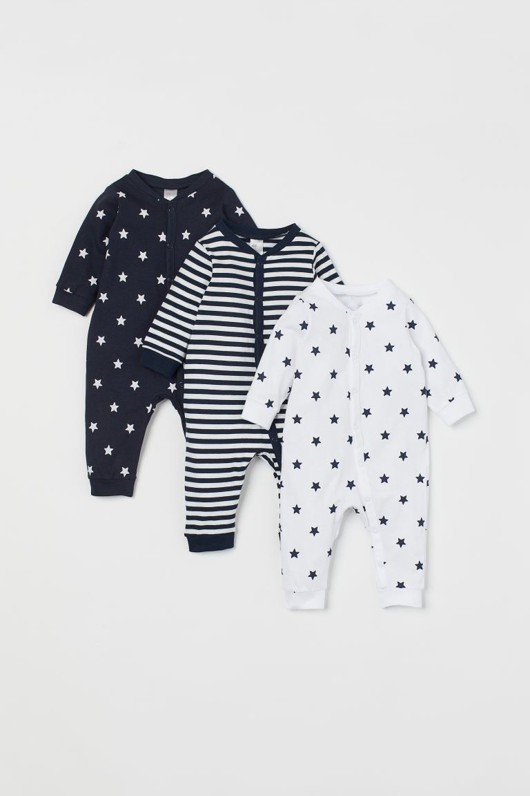 3-pack cotton pyjamas - Dark blue/Stars - Kids | H&M