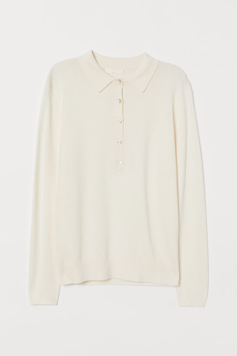 Fine-knit jumper with a collar - White - Ladies | H&M GB