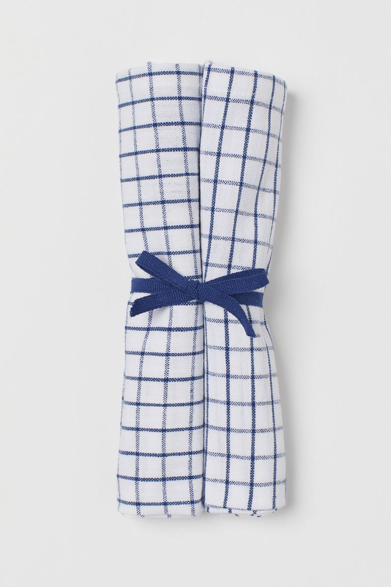 2-pack linen-blend napkins - Blue/Checked - Home All | H&M GB