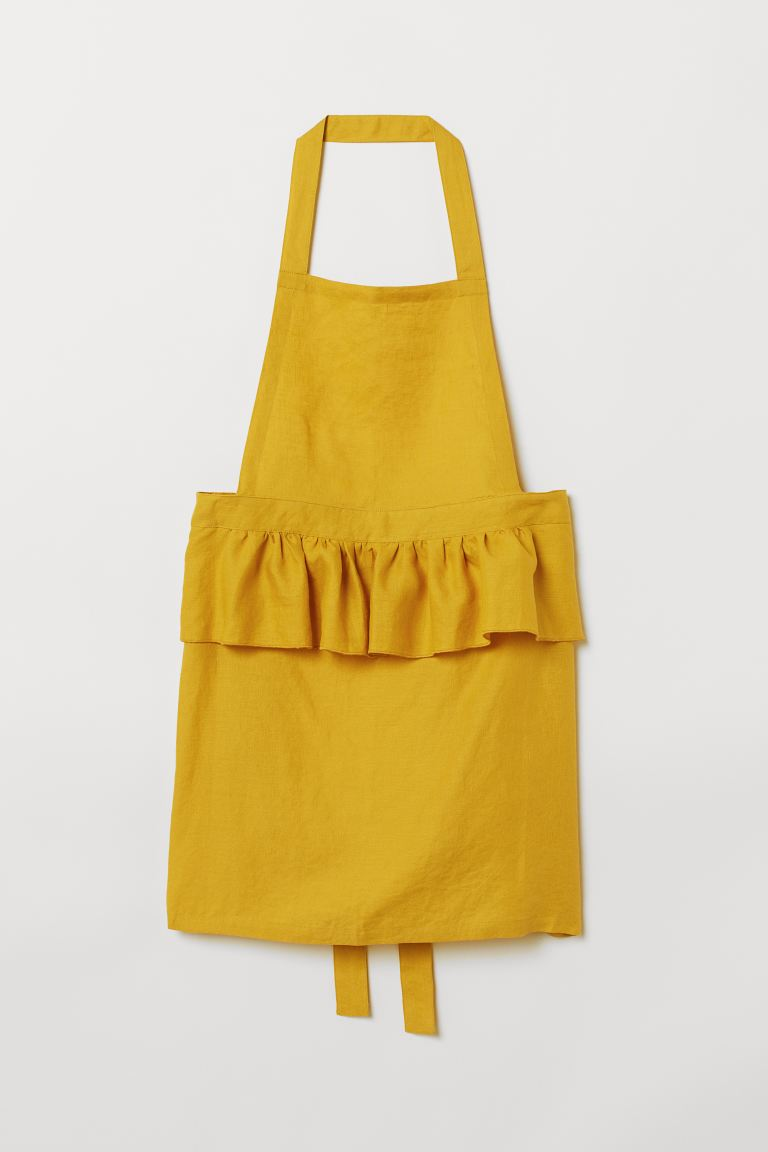 Linen apron - Mustard yellow - Home All | H&M GB