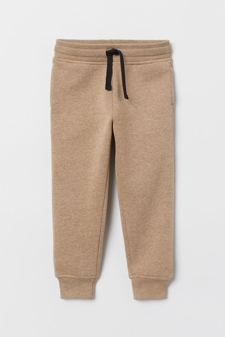 Cotton-blend joggers - Beige marl - Kids | H&M