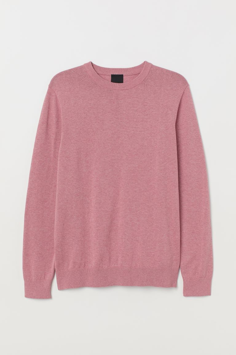 Fine-knit jumper - Dark pink marl - Men | H&M