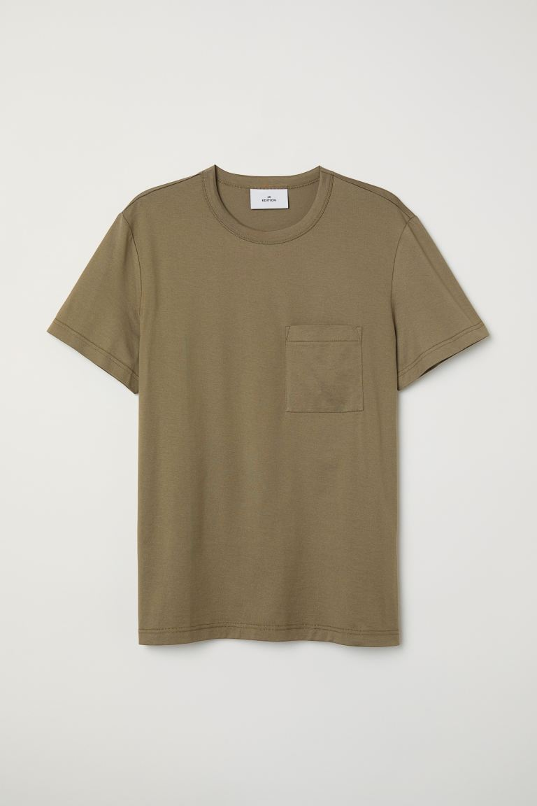 T-shirt with a chest pocket - Khaki green - Men | H&M