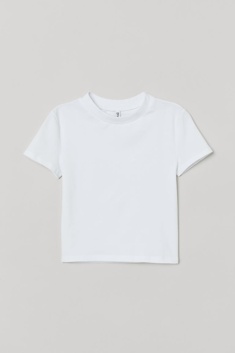 Short Jersey Top - White - Ladies | H&M CA