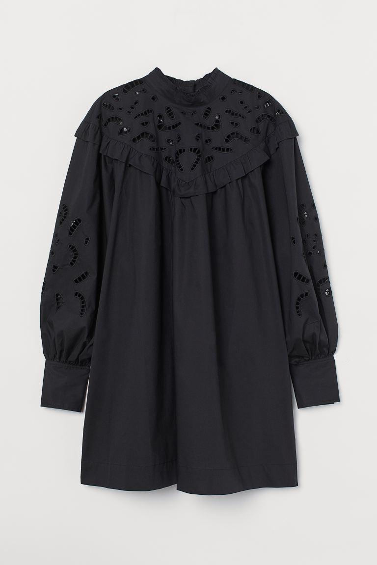 Broderie anglaise-detail dress - Black - Ladies   H&M GB