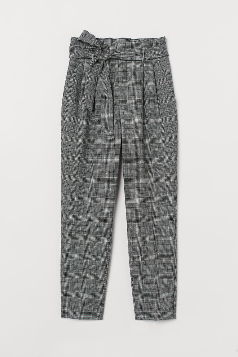 Paper bag trousers - Grey/Checked - Ladies | H&M GB