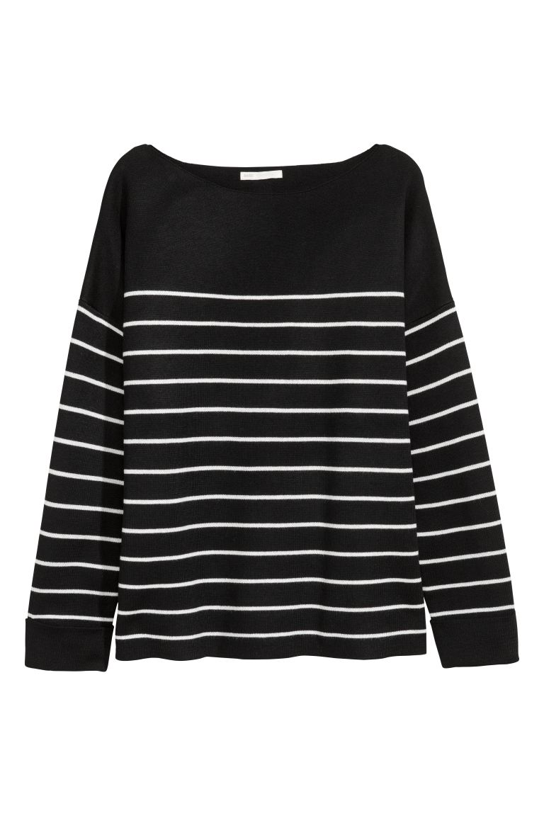 Knitted wool-blend jumper - Black/White striped - Ladies | H&M GB