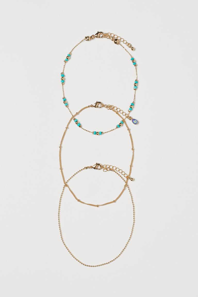 3-pack Anklets - Gold-colored/turquoise - Ladies | H&M US