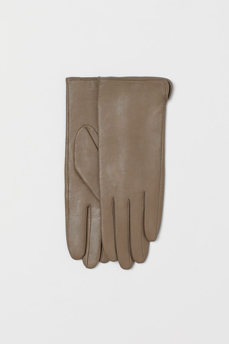 Leather gloves - Greige - Ladies | H&M GB