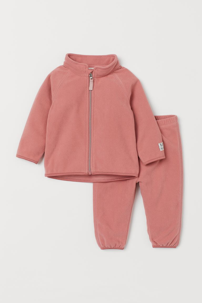 2-piece Fleece Set - Dusty rose - Kids | H&M US