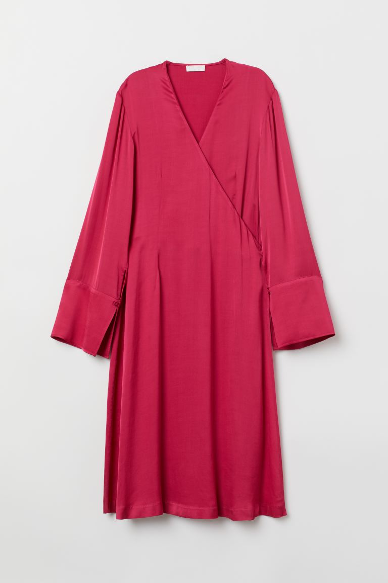 Satin Wrap Dress - Cerise - Ladies | H&M US