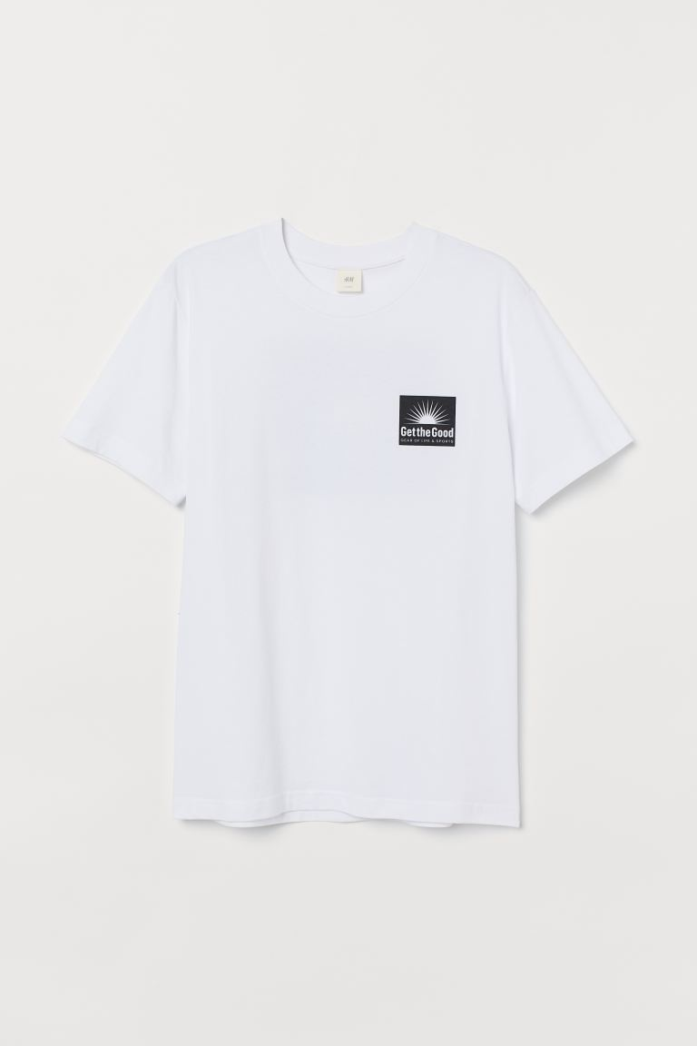 Printed T-shirt - White/Black - Men | H&M IN