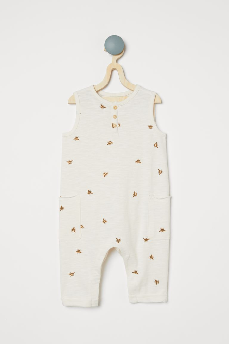 Cotton Romper Suit - Natural white/bees - Kids | H&M CA
