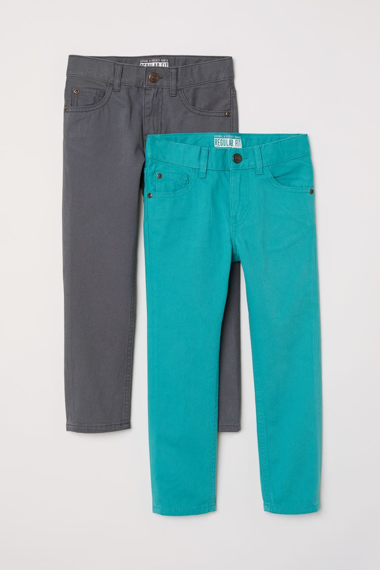 2-pack Trousers Regular Fit - Dark grey/Turquoise - Kids | H&M GB