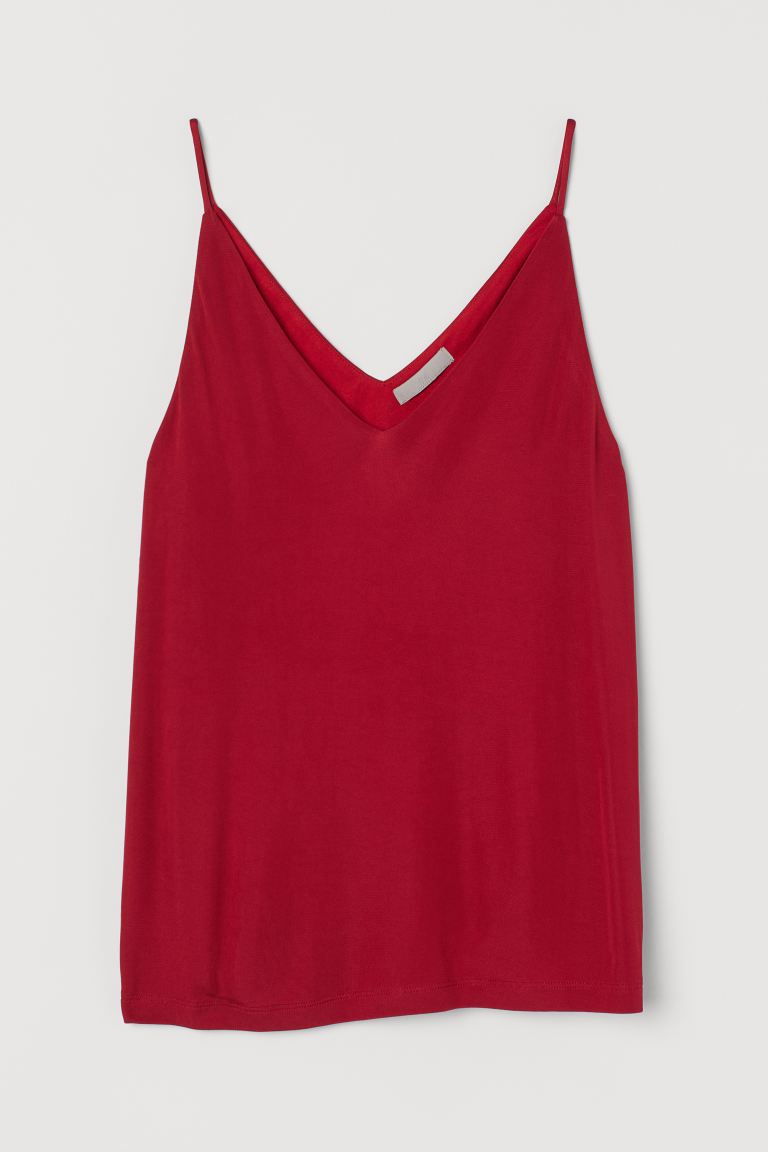 V-neck strappy top - Red - Ladies | H&M