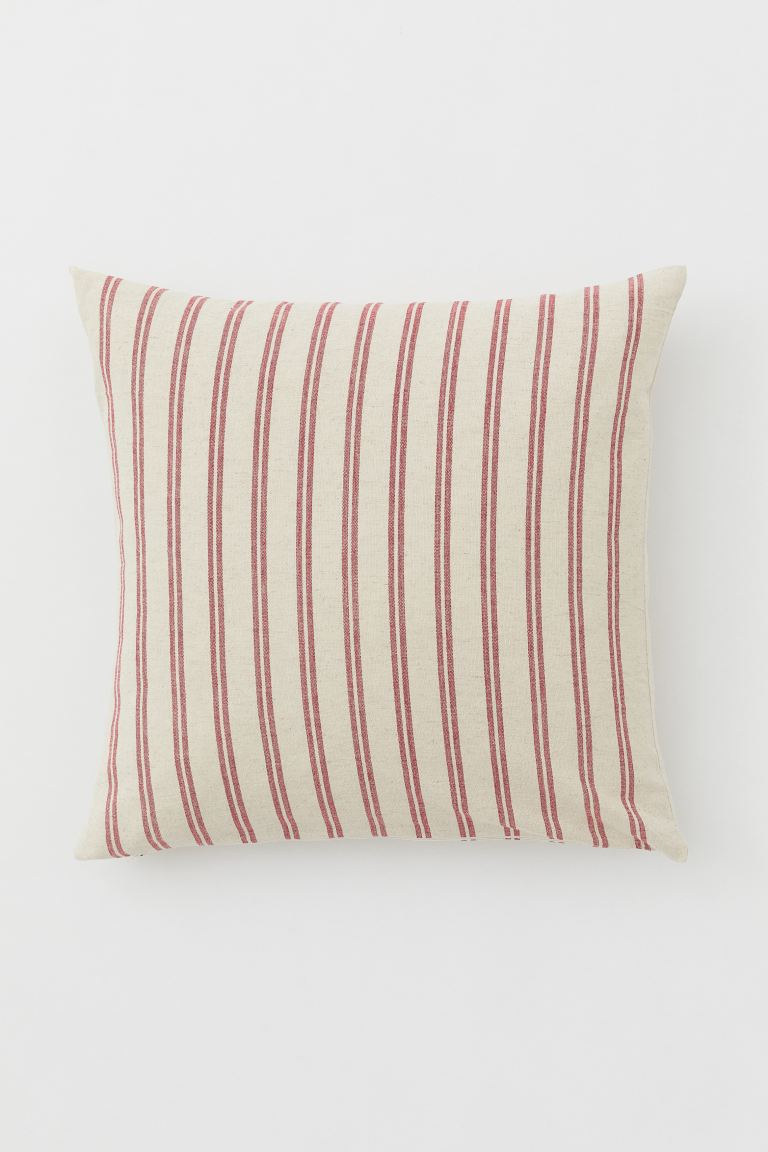 Cotton-blend Cushion Cover - Light beige/red - Home All | H&M US