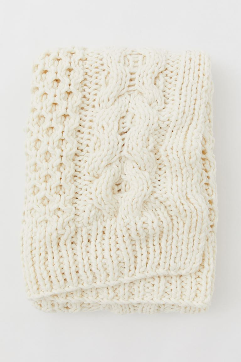 Pattern-knit Throw - Cream - Home All | H&M CA