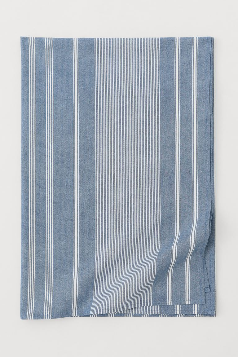 Patterned Cotton Tablecloth - Blue/white striped - Home All | H&M US
