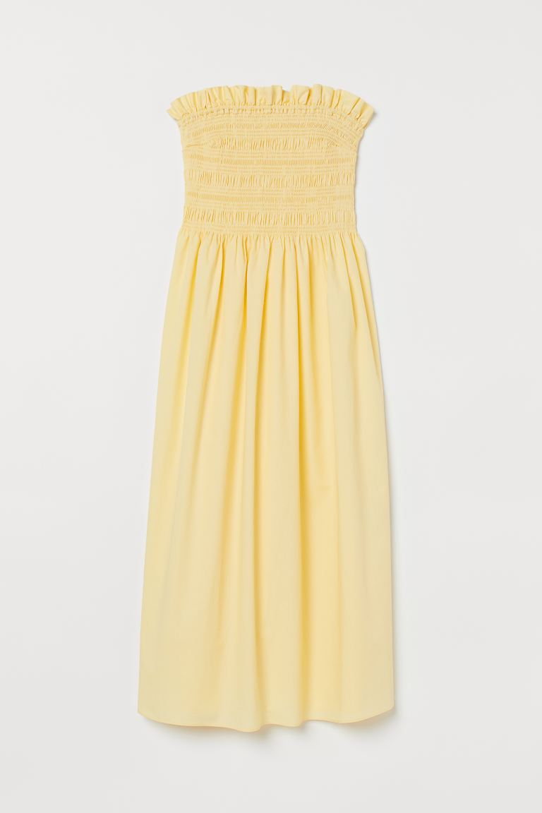 Smocked-bodice Dress - Light yellow -