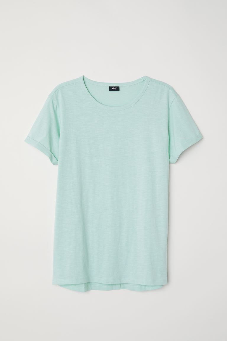 Slub jersey T-shirt - Light dusky green - Men | H&M