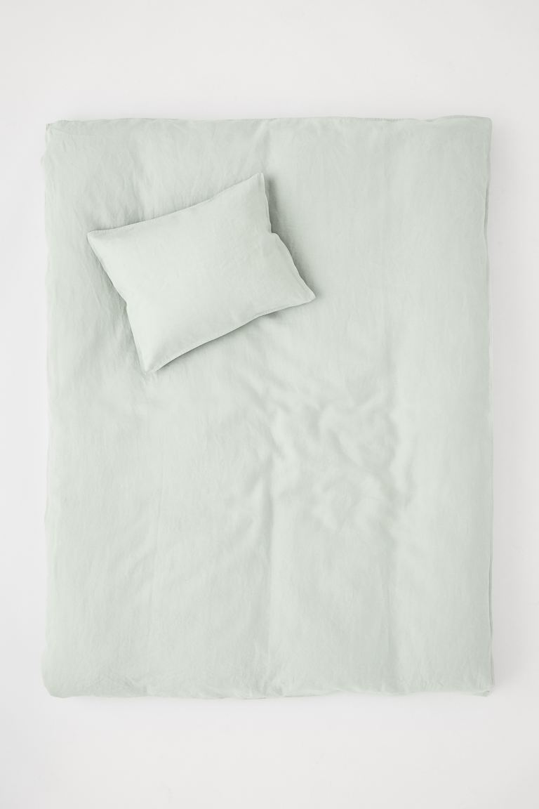 Washed Linen Duvet Cover Set - Light green - Home All | H&M CA