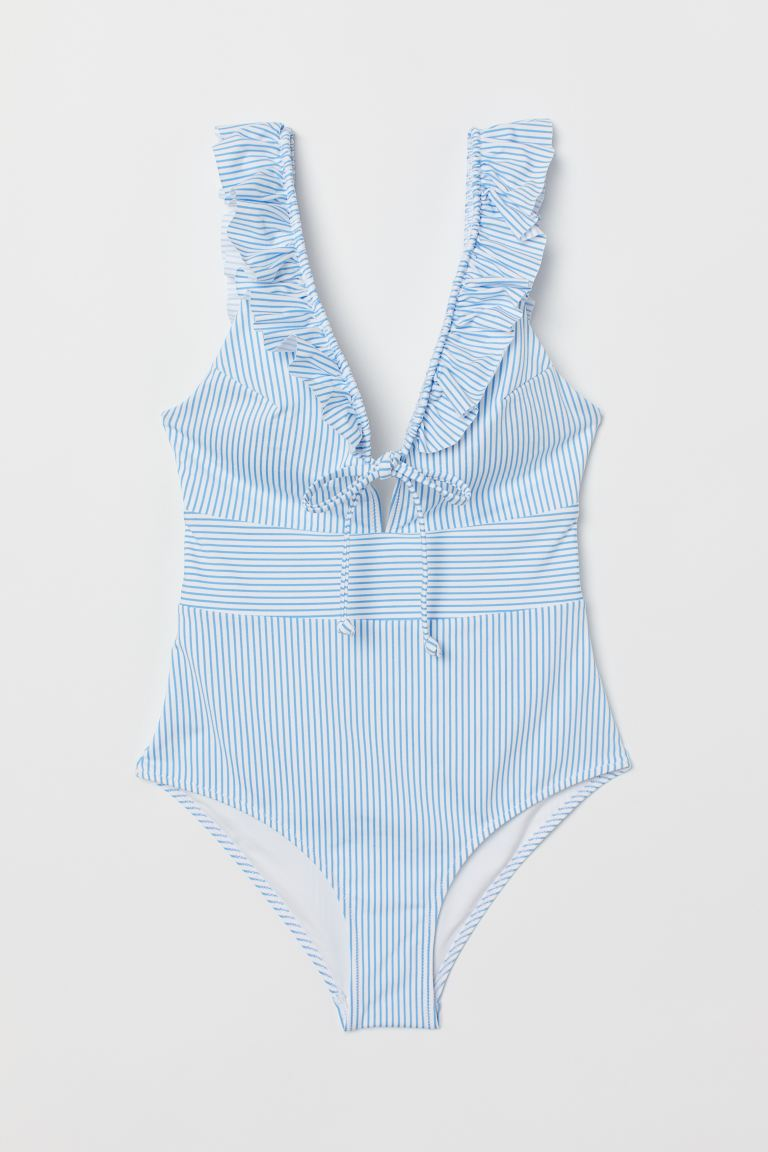 Swimsuit with Ruffles - Light blue/white striped - Ladies | H&M US
