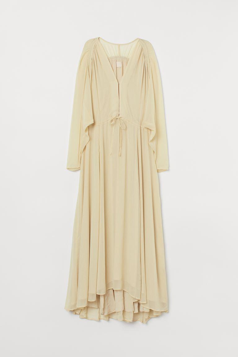 Long chiffon dress - Light yellow - Ladies | H&M GB